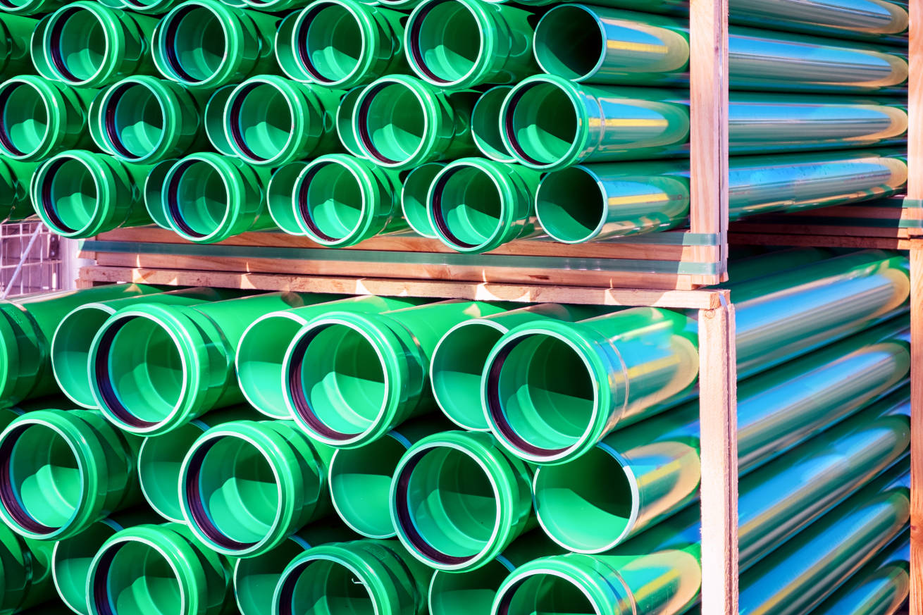 Green lines for replacing existing sewer lines
